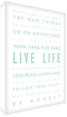 Feel Good Art Gallery Wrapped Box Canvas with Solid Front Panel in Modern and Inspirational Typographic Design 30 x 20 x 4 cm, Small, Mint Green on White, Live Life