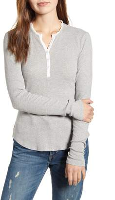 Lucky Brand Lace Trim Thermal Henley Top