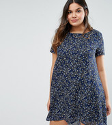 Koko Plus Swing Dress With Dip Back In Floral Print