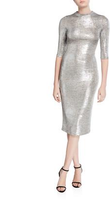 Alice + Olivia Delora Metallic Fitted Mock-Neck Dress