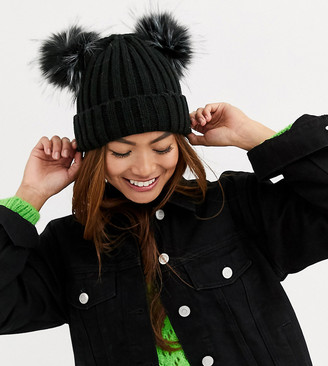 My Accessories London Exclusive black double pom beanie hat