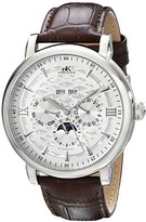Adee Kaye Men's AK2242-M/SV Successo Stainless Steel Automatic Watch with Brown Faux-Leather Band