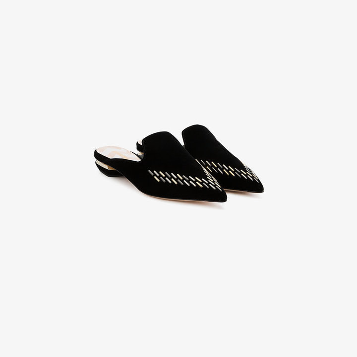 Nicholas Kirkwood Black Velvet Embellished Beya Flat mules