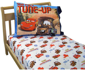 Disney Team Lightning McQueen 2 Pack Super Soft Fitted Toddler Sheet and Pillowcase Set Bedding
