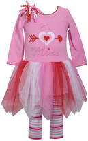 Bonnie Jean 2-pc.Long Sleeve Be Mine Valentine Tutu Dress With Stripe Legging Set-Baby Girls