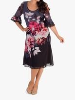Chesca Flounce Layered Cuff Hyacinth Dress, Hyacinth