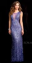 Scala Illusion Plunging Sequin Prom Dress