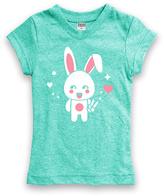 Urban Smalls Heather Aqua Kawaii Bunny Fitted Tee - Toddler & Girls