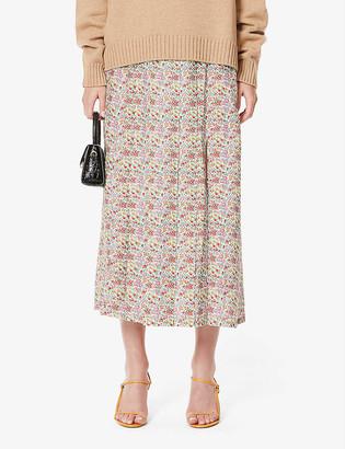 Rixo Georgia floral-print silk midi skirt