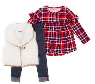 Little Lass Teddy Vest, Plaid Fashion Top And Legging, 3-Piece Outfit Set (Little Girls)