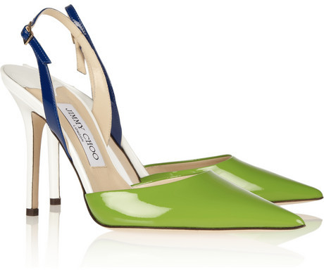Jimmy Choo Volt color-block patent-leather slingbacks
