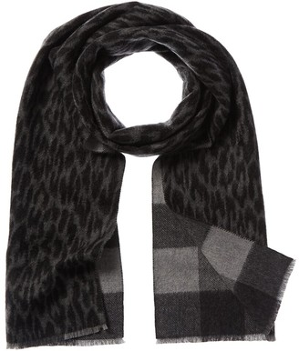 Amicale Cashmere Double Face Leopard & Buffalo Check Cashmere Scarf