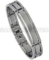 Sabrina Silver Stainless Steel ID Bracelet For Men Satin Finish 3-Row 1/2 inch wide, 7.75 inch