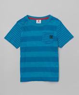 DC Deep Teal Stripe Logo Tee - Toddler & Boys