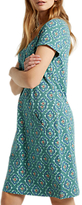 White Stuff Perfect Tile Jersey Dress, Deep Turquoise