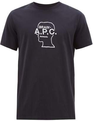 A.P.C. X Brain Dead Logo Embroidered Cotton T Shirt - Mens - Navy