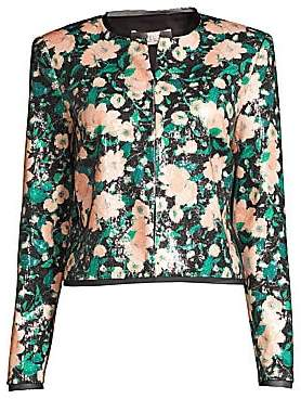 Rachel Zoe Women's Abbie Print Sequin Collarless Jacket - Size 0