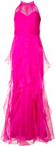 Badgley Mischka layered maxi gown - women - Silk/Polyester - 4