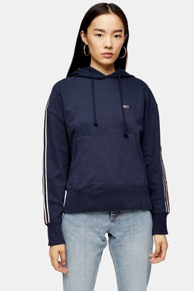 Tommy Hilfiger Womens Tonal Tape Hoodie By Tommy Jeans - Navy Blue