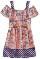 Sequin Hearts Cold Shoulder Printed Dress, Big Girls (7-16)
