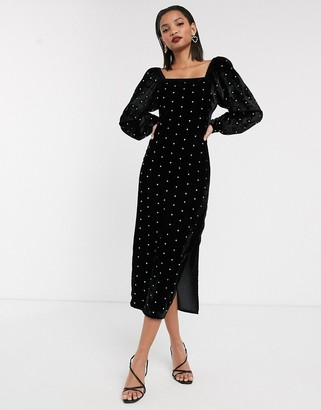 ASOS DESIGN velvet puff sleeve maxi dress with diamante hot fix