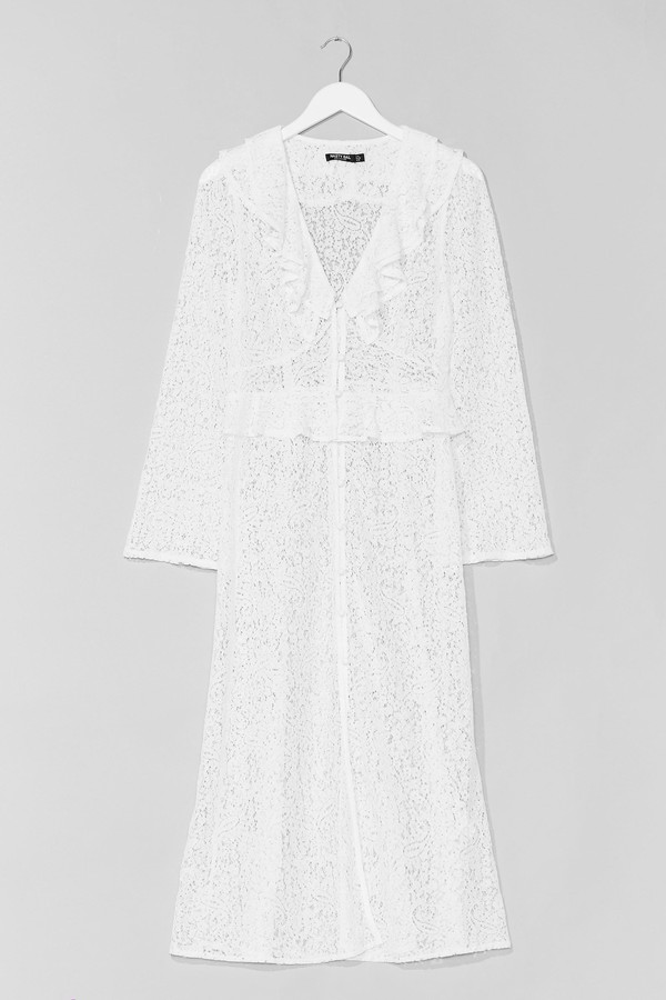 Thumbnail for your product : Nasty Gal Womens Sheer Lace Ruffle Maxi Dress