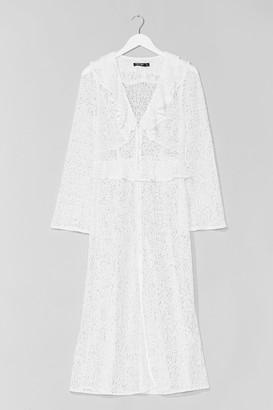 Nasty Gal Womens Lace Do It Again Ruffle Maxi Dress - White - 4, White