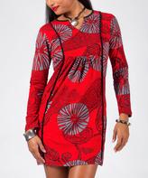 Aller Simplement Red & Gray Floral Notch Neck Dress