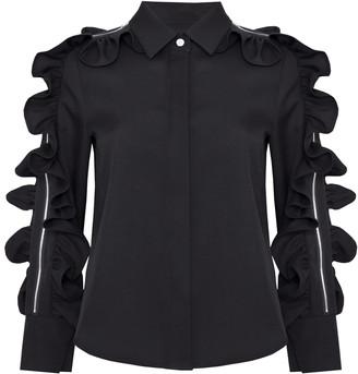 Jovonna London Black Ruffle Zip Sleeve Jacket Top - UK8 - Black