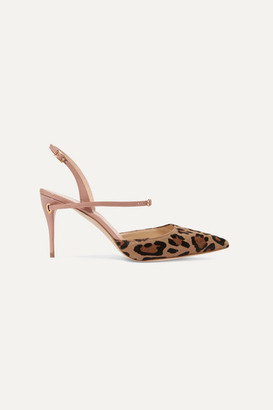 Jennifer Chamandi Vittorio 85 Leopard-print Calf Hair And Patent-leather Slingback Pumps - Leopard print