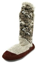 Acorn Slouch Boot Women Round Toe Canvas Tan Slipper.