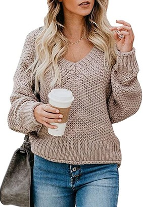 Ybenlow Womens Oversized Sweaters Batwing Sleeve Casual V Neck Chunky Knit Pullover Jumper Slouchy Loose Tops