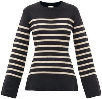 KHAITE Lou Striped Cashmere Sweater - Black Beige