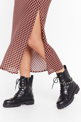 Nasty Gal Womens Ready For a Chain-ge Faux Leather Lace-Up Boots - black - 3