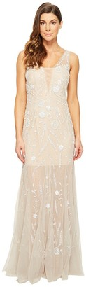 Adrianna Papell Women's Beaded Sleevless Gown Wth Godets
