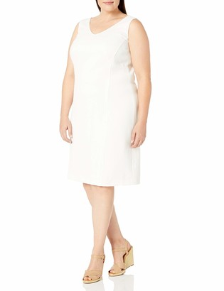 Kasper Women's Plus Size V Neck Seamed Dress