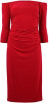 Norma Kamali off-shoulders shirred waist dress - women - Polyester/Spandex/Elastane - L
