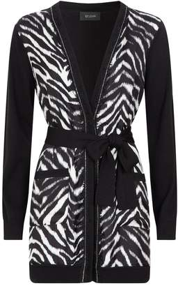 St. John Wool-Silk Zebra Cardigan