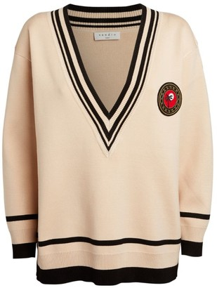 Sandro Paris Patch V-Neck Sweater
