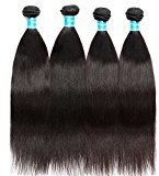 Vinsteen Unprocessed Brazilian Hair Bundles Real Yaki Straight Human Hair Extensions Thick Ends shiny Hair Weaves (12 12 12 12)