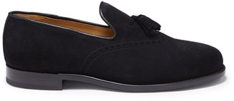 Hugs & Co Black Suede Tasselled Brogues Welted Leather Sole