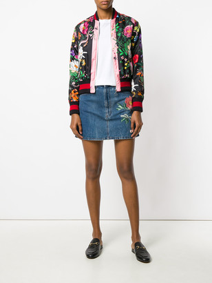 Gucci Floral Embroidery Denim Skirt Blue