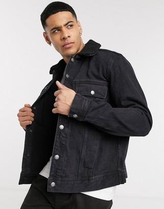 Topman borg collar jacket in black