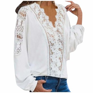 Incorra Women Solid Lace Patchwork Tops Fashion Casual V-Neck Long Sleeves Loose Sweatshirts Shirts Pullover Blouse 2020 White
