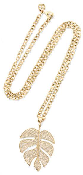 Sydney Evan Extra Large Monstera Leaf 14-karat Gold Diamond Necklace