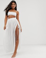 Asos Design DESIGN maxi beach skirt with lace up sides in white