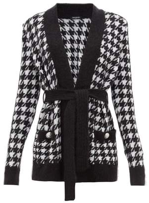 Balmain Belted Long-line Houndstooth Cardigan - Womens - Black White