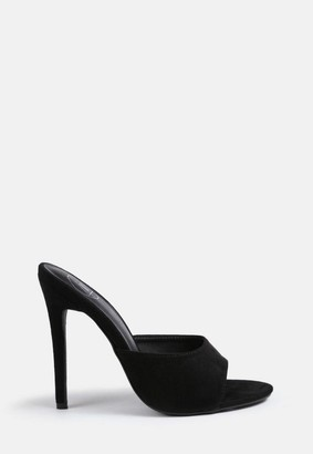 Missguided Black Faux Suede Round Toe Heeled Mules