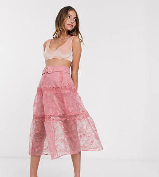 Asos DESIGN Petite embroidered midi skirt with belt detail in peach