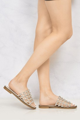 Miss Diva Shakira Stud Caged Detail Open Toe Flat Sliders in Nude